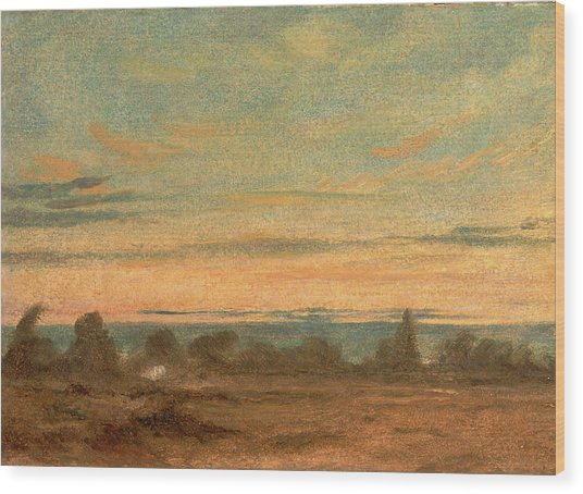 Summer - Evening Landscape, Attributed To John Constable Wood Print by Litz Collection