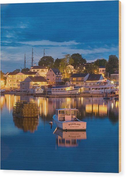 Summer Evening On Boothbay Harbor Wood Print