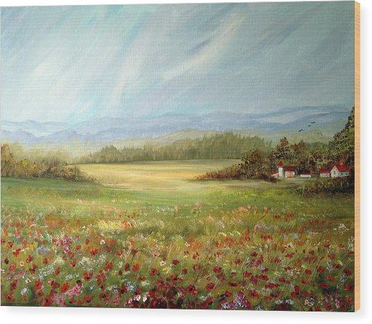 Summer Field At The Farm Wood Print