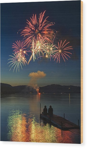 Summer Fireworks Wood Print