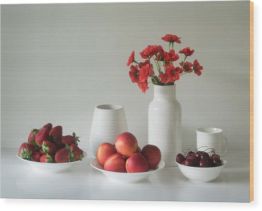 Summer Fruits Wood Print by Jacqueline Hammer