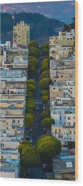 Summer Green On Lombard Street Wood Print
