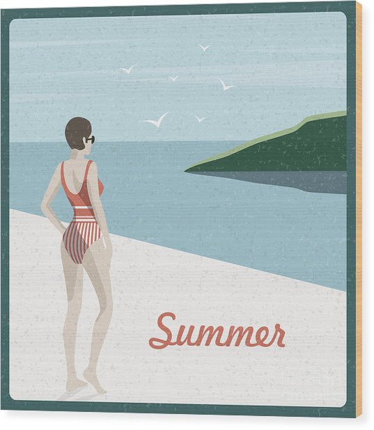 Summer Holidays Retro Poster Woman The Wood Print