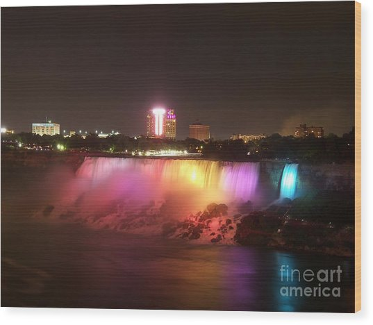 Summer Night In Niagara Falls Wood Print