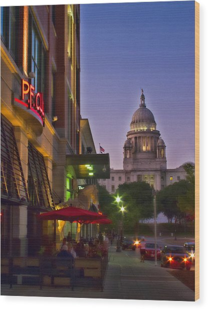 Summer Night In Providence Wood Print