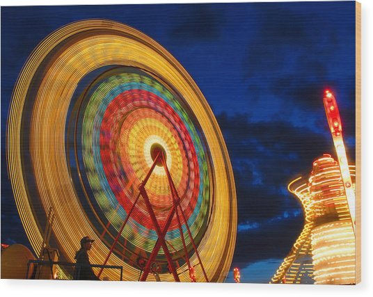 Summer Nights Ferris Wheel Wood Print