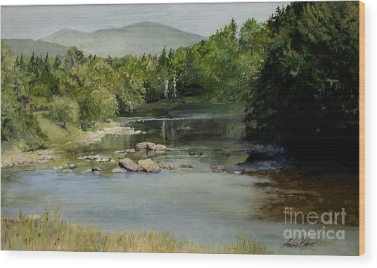 Summer On The River In Vermont Wood Print