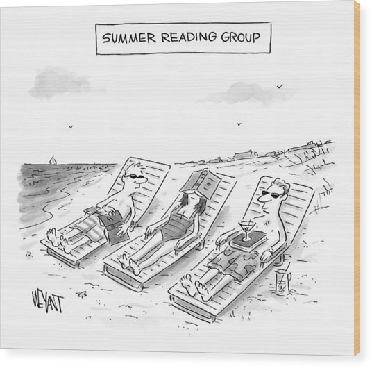 Summer Reading Group -- Three Beach Goers Lounge Wood Print