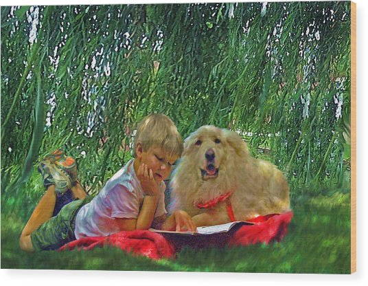 Summer Reading Wood Print