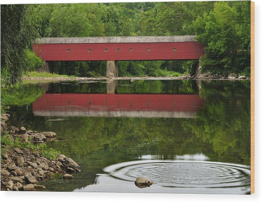 Summer Reflections At West Cornwall Covered Bridge Wood Print