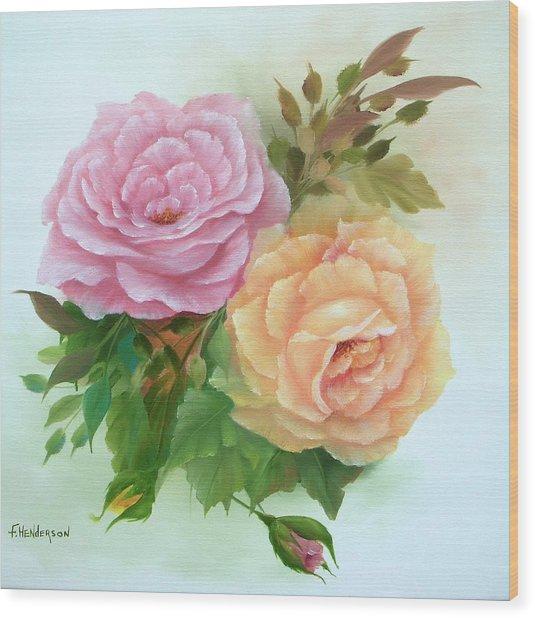 Summer Roses Wood Print by Francine Henderson