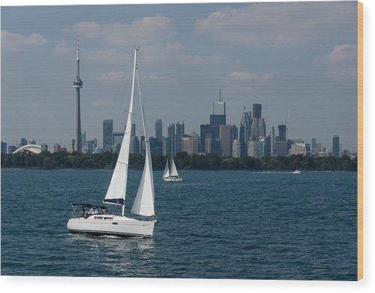 Summer Sailing Postcard From Toronto Wood Print