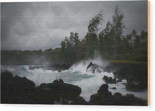 Summer Storm Hana Bay Hawaii Wood Print