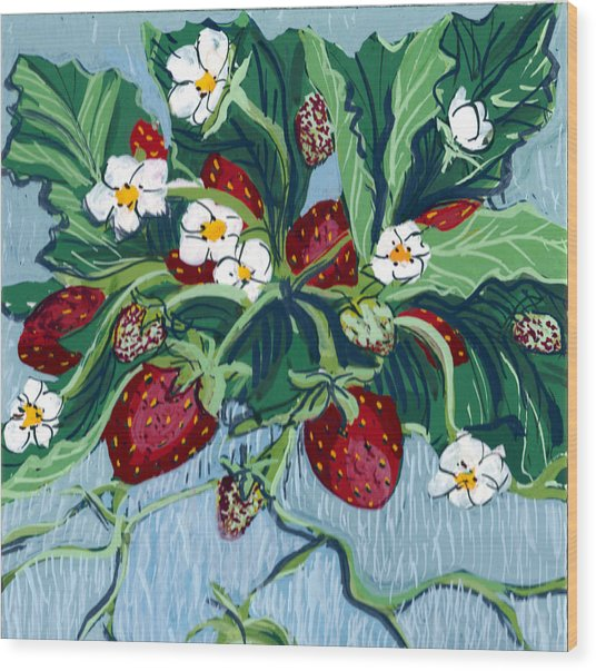 Summer Strawberries Wood Print