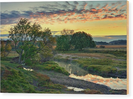 Summer Stream Sunrise Wood Print