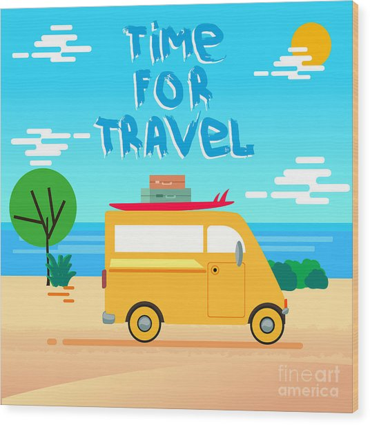 Summer Time Vector Background. Summer Wood Print
