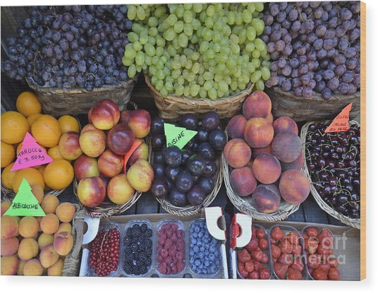 Summer Variety Of Fruits In Italy Wood Print by Sami Sarkis