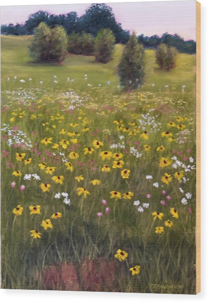 Summer Wildflowers Wood Print by Joan Swanson