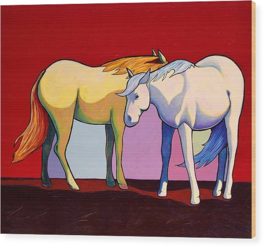 Summer Winds - Mustangs Wood Print by Joe  Triano