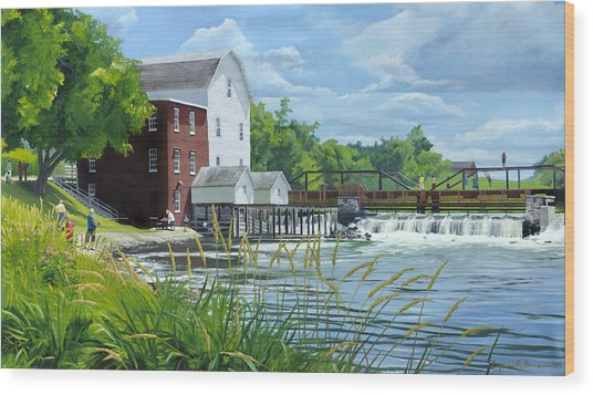 Summertime At The Old Mill Wood Print