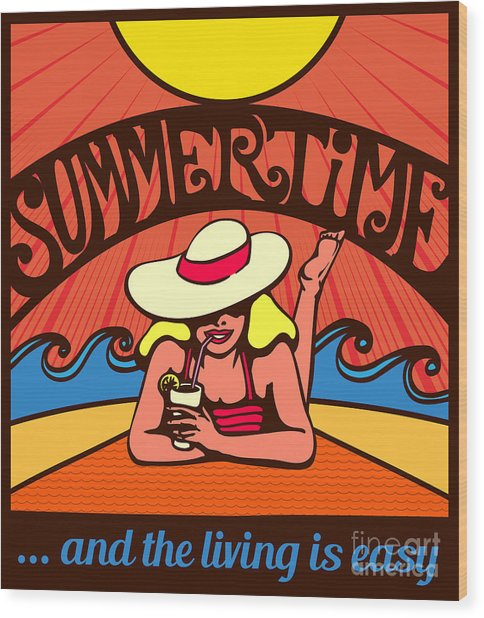 Summertime Blond Relaxed Girl Wood Print