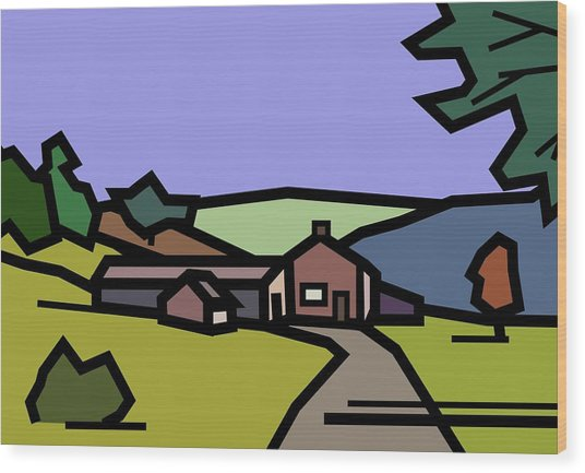 Summertime On Joe's Farm Wood Print by Kenneth North