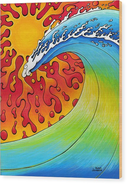Sun And Surf Wood Print