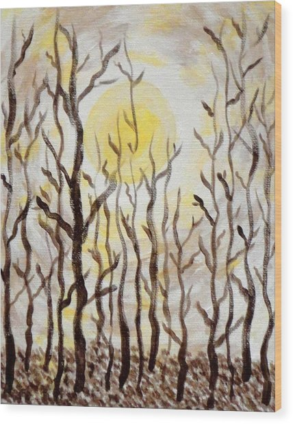 Sun And Trees Wood Print by Valerie Howell