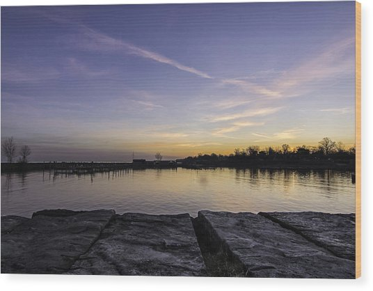 Sun At The Docks Wood Print by Kris Rowlands