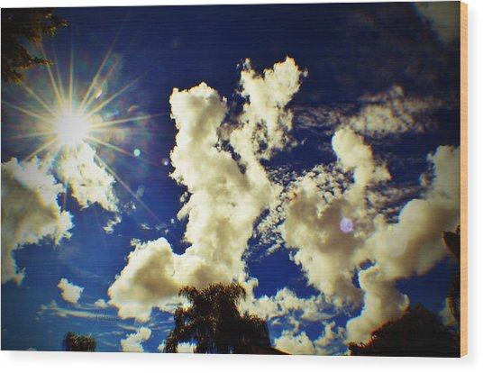 Sun Bubbles Wood Print