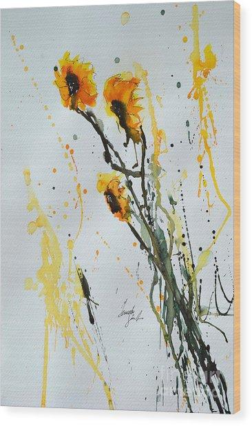 Sun-childs- Flower Painting Wood Print