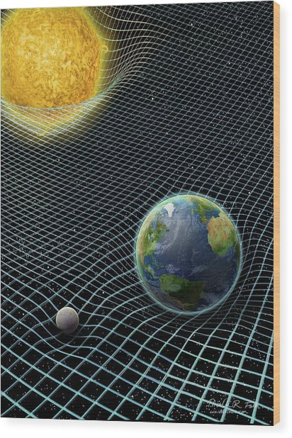 Sun-earth-moon And Space-time Wood Print