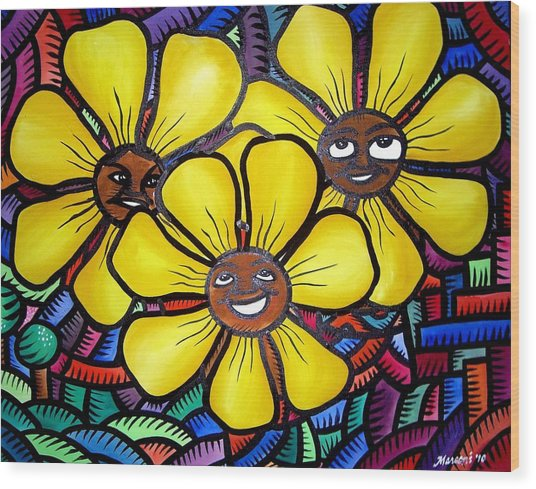 Sun Flower And Friends Manila  2010 Wood Print