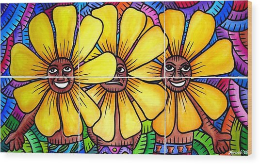 Sun Flowers And Friends 2008 Wood Print