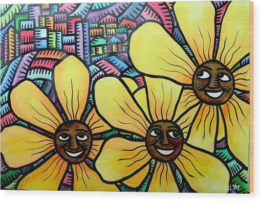 Sun Flowers And Friends Sf 2 2009 Wood Print