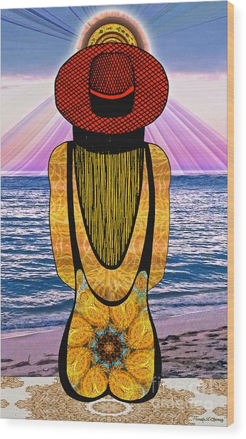 Sun Girl's Back Wood Print