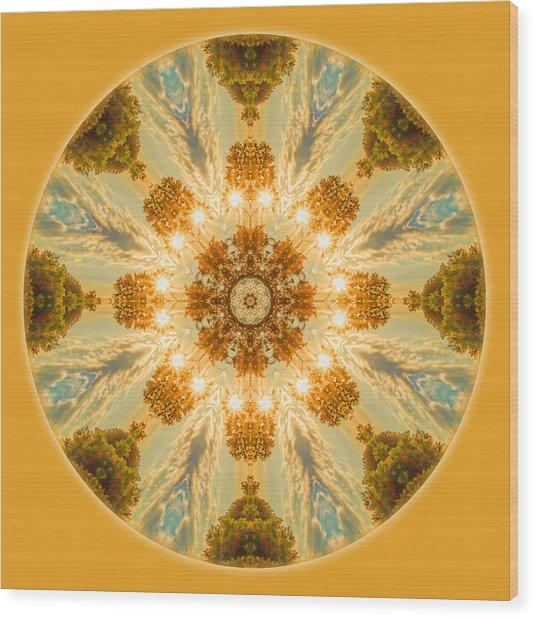 Sun Glow Mandala Wood Print