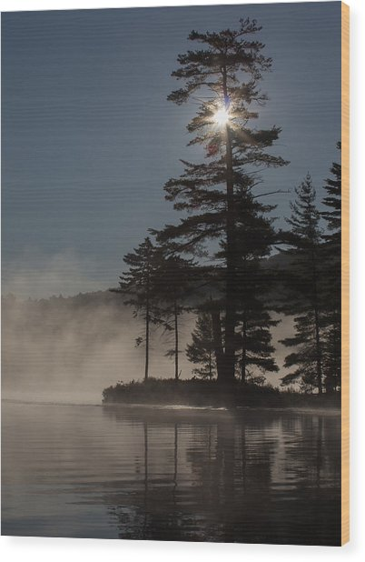Sun Is Up At The Lake Wood Print