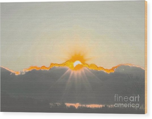 Sun Wood Print by Jay Nodianos