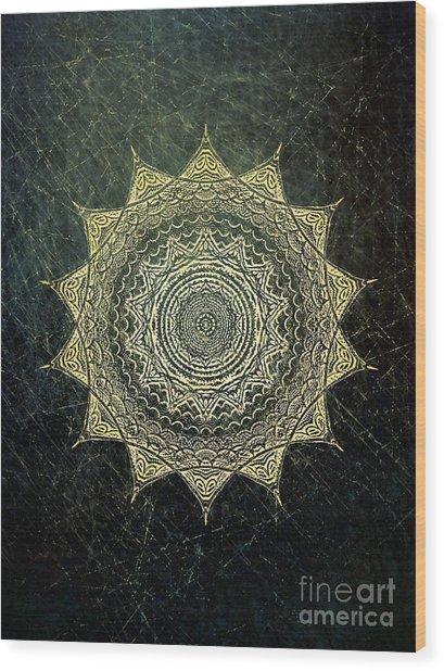 Sun Mandala - Background Variation Wood Print