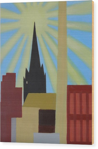 Sun Over Greenpoint Wood Print by Ron Erickson