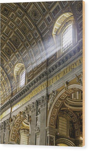 Sun Rays In St. Peter's Basilica Wood Print