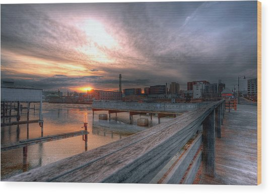 Sun Rise Over Erie Pa Wood Print by Brian Fisher