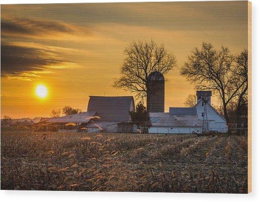 Sun Rise Over The Farm Wood Print