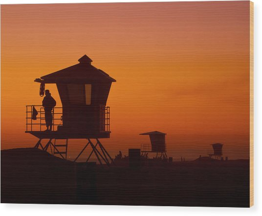 Sun Sets On Huntington Beach Wood Print