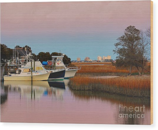 Sun Setting At Murrells Inlet Wood Print