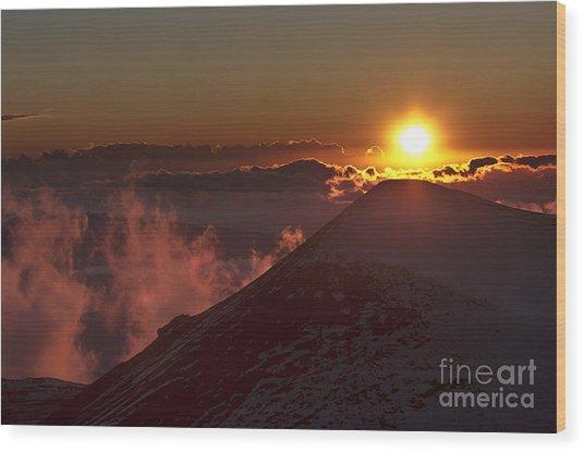 Sun Setting Wood Print by Karl Voss