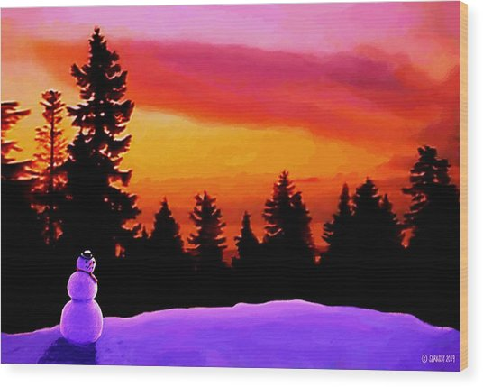 Sun Setting On Snow Wood Print