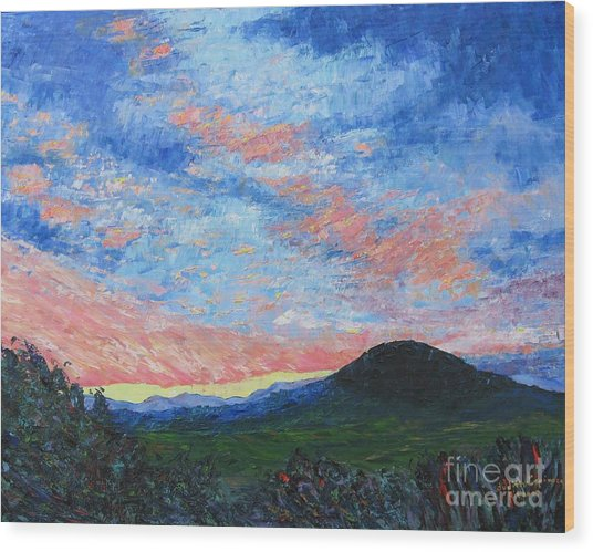 Sun Setting Over Mole Hill - Sold Wood Print by Judith Espinoza