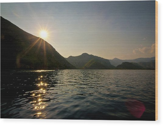 Sun Sparkles On The Mediterranean Sea Wood Print